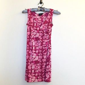 BCBG WRAP-FRONT 'BUBBLY' PINK FITTED MINI-DRESS XS